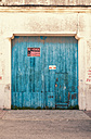 Spain, Blue garage door, close up - WVF000356
