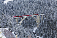 Switzerland, Rhaetian railway passing through Langwieser Viaduct bridge - WD001686