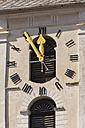 Switzerland, Laax, view of parish church with clock - WDF001730
