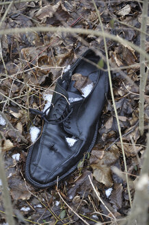 Germany, Bavaria, Old black shoe in shrubbery - AXF000441