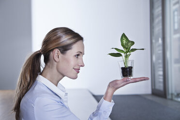 Germany, North Rhine Westphalia, Cologne, Businesswoman lifting potted plant, smiling - FMKF000762