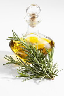 Rosemary herb with olive oil bottle on white background, close up - CSF019075