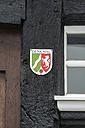 Germany, North Rhine Westphalia, Essen Ketwig, Information board on half timbered house - EL000046