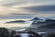 Germany, Baden Wuerttemberg, View of foggy Hegau landscape - ELF000051