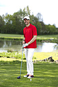 Germany, Bavaria, Mature man on golf course - MAEF006671