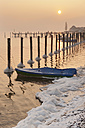 Germany, Boat and mooring posts in Lake Constance - SH000698