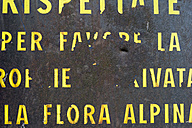 Italy, Old shabby italian sign about  alpine flora - SHF000716