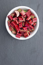 Bowl of rhubarb, close up - LVF000071