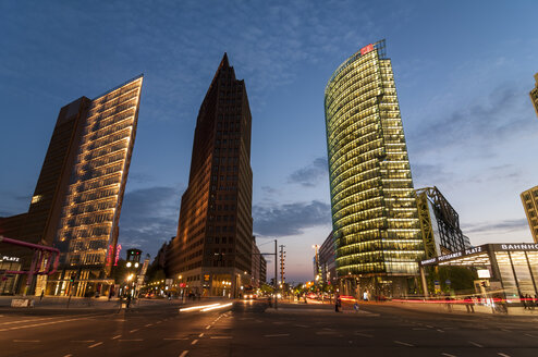 Germany, Berlin, View of Potsdamer Platz square at night - CB000086