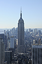 USA, New York State, New York City, View of Empire State Building at Manhattan - RUEF001069