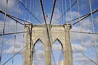 USA, New York State, New York City, View of Brooklyn bridge tower at Manhattan - RUE001008
