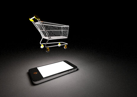 Illustration of smartphone with shopping cart - AL000074