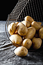 Raw potatoes in basket, close up - CSF019314