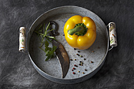 Capsicum with knife and peppers on tray, close up - CSF019367