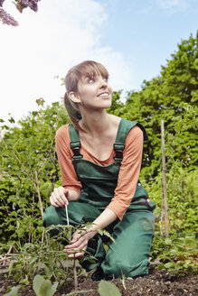 Germany, Cologne, Young woman gardening patch, smiling - RHYF000420