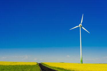 Germany, Saxony, Wind turbines in oilseed rape field - MJF000200