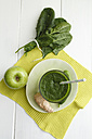 Green smoothie made of green apples, spinach, ginger and cucumber, close up - ECF000194