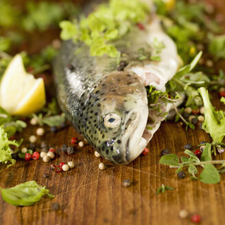 Trout stuffed with herbs on wood, close up - CH000053