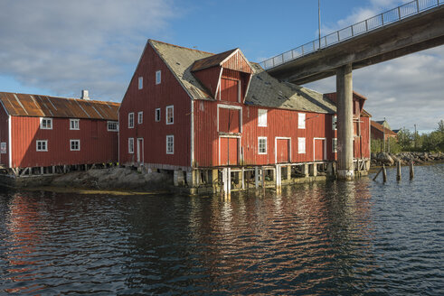 Norway, Old storehouses at harbor - HWO000025
