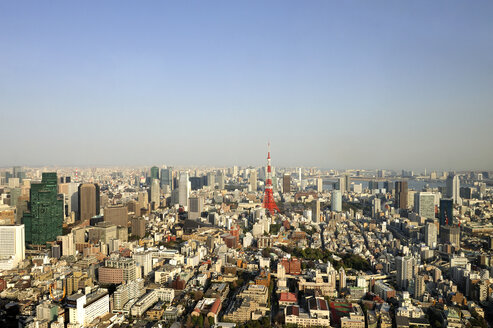 Japan, Tokyo, View of  Roppongi Hills with Tokyo Tower and Rainbow Bridge - LH000169