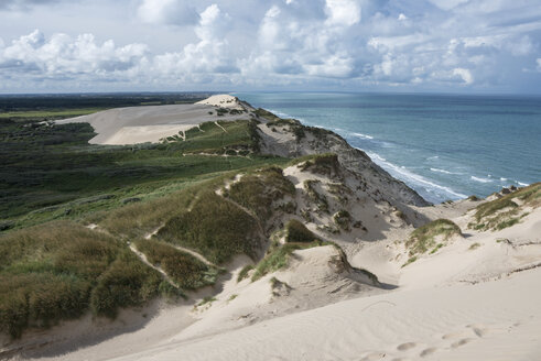 Denmark, View of Wanderdune Rubjerg Knude at North sea - HWOF000050