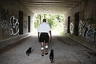 Germany, Bavaria, Munich, Senior man walking with dogs - ED000029