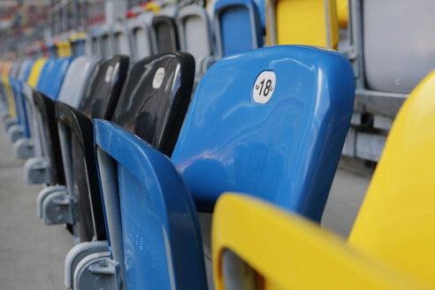Germany, Dusseldorf, Soccer stadium seats - JAT000083