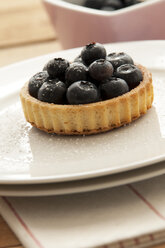 Fruit tartlet with blueberries on plate - OD000052