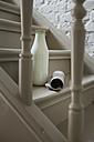 Milk bottle and newspaper on steps - FMKYF000334