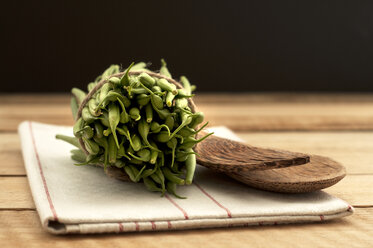 Bush beans with wooden spoon and napkin on wooden table, close up - OD000061