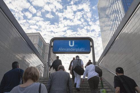 Germany, Berlin, People walking upstairs of underground train station - HA000137