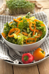 Green salad with peppers in bowl, close up - OD000089