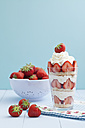 Strawberry trifle with whipped cream, close up - ECF000222