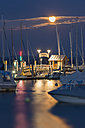 Germany, View of anchored sailing boats and pier in lake constance - SH000755