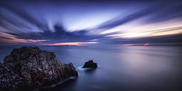 Spain, Menorca, View of Punta Nati at sunset - SMA000151