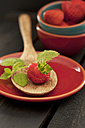 Strawberry on wooden spoon, close up - OD000160