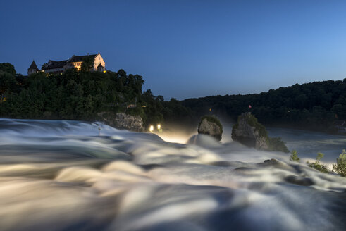 Switzerland, Schaffhausen, View of Rhine Falls with Laufen Castle at night - ELF000195