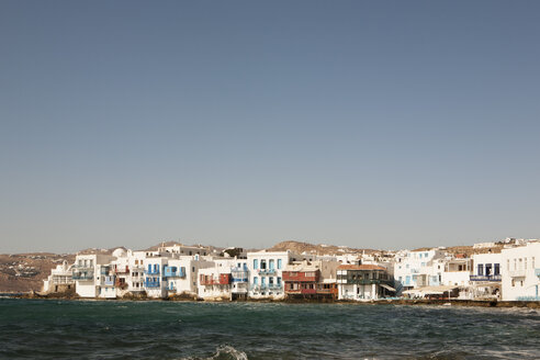 Greece, Mykonos, View of coffee shops at Little Venice - SKF001365
