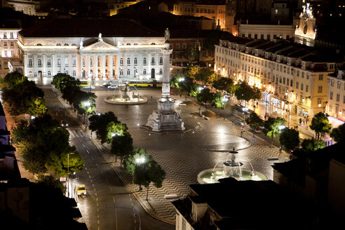 Portugal, Lisbon, View of Rossio square at night - SKF001318
