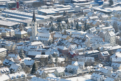 Germany, View of church and town centre of Markdorf during winter - SH000802