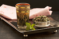 Peppermint tea with leaf on wooden table - OD000202