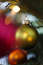 Christmas bauble hanging on tree, close up - LB000110