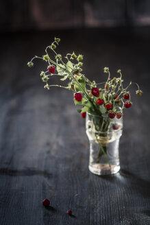 Germany, Baden Wuerttemberg, Bouquet of wild strawberries in glass - SBDF000112