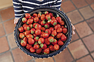 Germany, North Rhine Westphalia, Cologne, Girl holding bowl of strawberries, close up - FMKYF000460