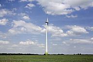 Germany, Brandenburg, wind turbines in green field - CNF000013