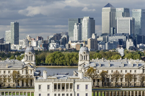 United Kingdom, View of old Royal Naval College and Financial district - ELF000404
