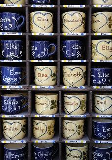 Germany, Bavaria, Munich, Names written on Cups in Auer Dult market - LH000249