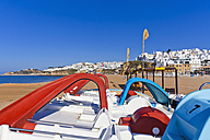 Portugal, Albufeira, Pedal boats at beach - WD001761