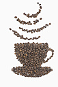 Coffee beans in shape of coffee cup with aroma symbol on white background - ASF005071