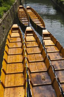 Germany, Baden Wuerttemberg, Ulm, Fishing boats at Danube River - HA000199